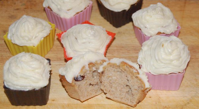 Cranberry Muffins with cream cheese frosting